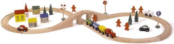 Juego de tren de madera infantil en forma de ocho-0