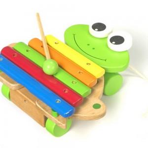 Xilófono de madera en forma de rana-0