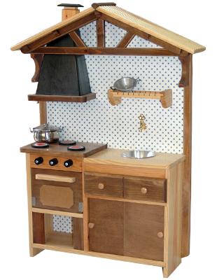 Cocinita para jugar rústica de madera-0